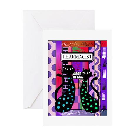 pharmacist cat phone pink Greeting Card