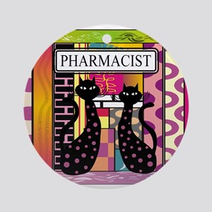 pharmacist black cat TOTE CP Ornament (Round)