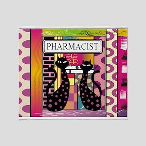 pharmacist black cat TOTE CP Throw Blanket