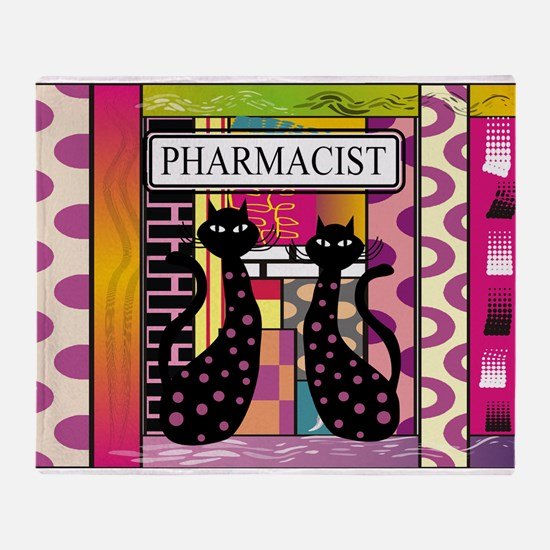 pharmacist black cat TOTE CP.PNG Throw Blanket