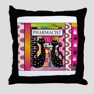 pharmacist black cat TOTE CP Throw Pillow