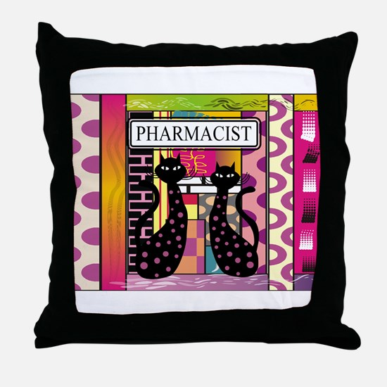 pharmacist black cat TOTE CP.PNG Throw Pillow