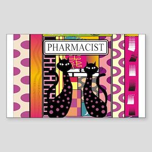 pharmacist black cat TOTE CP Sticker (Rectangl