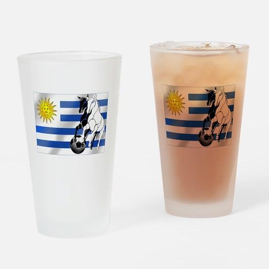 Uruguay Soccer Flag Drinking Glass