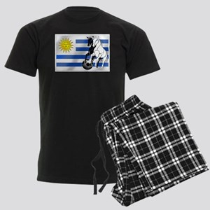 Uruguay Soccer Flag Men's Dark Pajamas