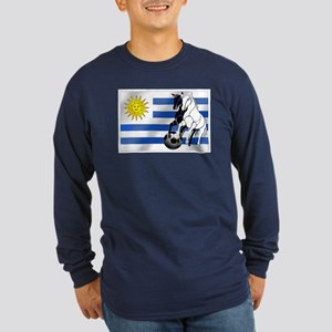 Uruguay Soccer Flag Long Sleeve Dark T-Shirt