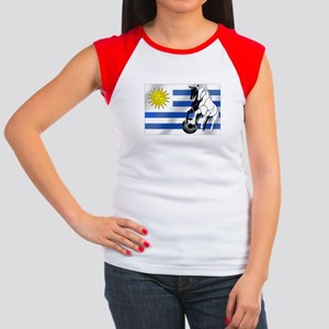 Uruguay Soccer Flag Women's Cap Sleeve T-Shirt