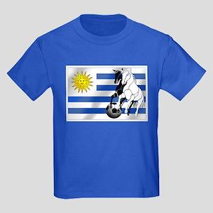 Uruguay Soccer Flag Kids Dark T-Shirt