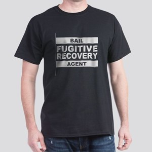 """Big Gray """"Bail Agent"""" Letters on Black T-Shirt"""