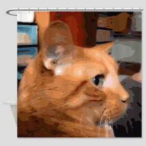 Orange Tabby Cat Matthew Shower Curtain