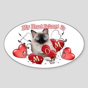 Ragdoll Heart Belongs To Mom mug Sticker (Oval)