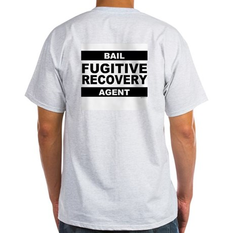 Black Fugitive Recovery Logo on Ash Grey T-Shirt