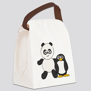 Panda and penguin Canvas Lunch Bag