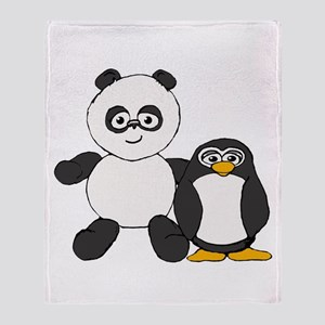 Panda and penguin Throw Blanket