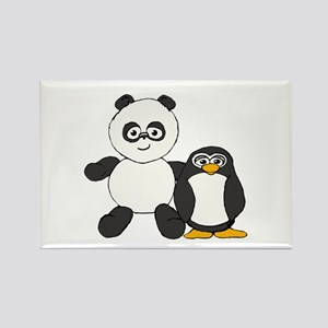 Panda and penguin Rectangle Magnet