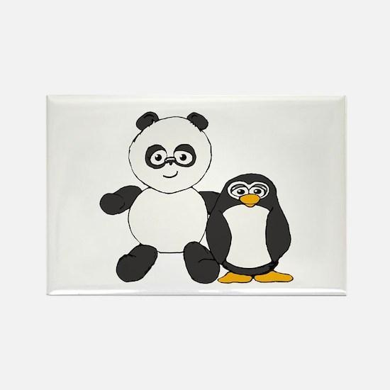 Panda and penguin Rectangle Magnet