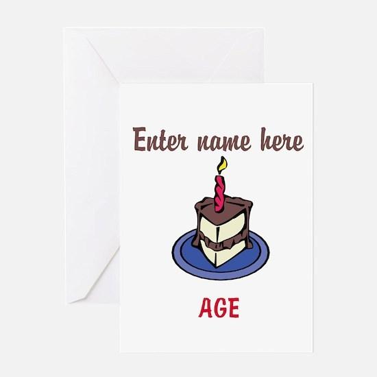 Personalized Birthday Cake Greeting Card