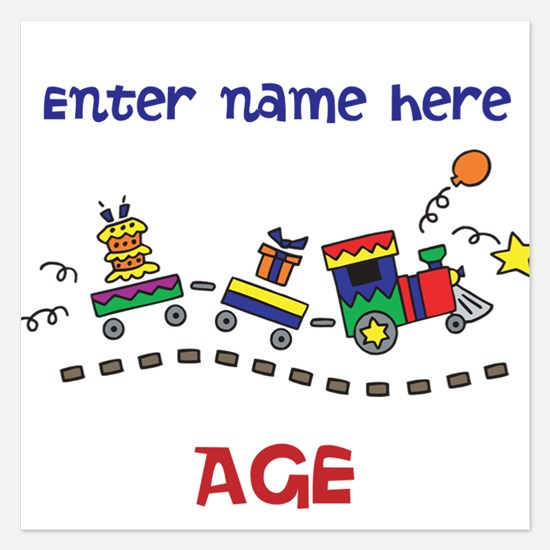 Personalized Birthday Train Invitations