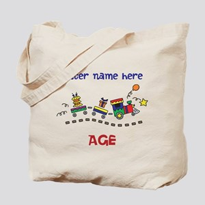Personalized Birthday Train Tote Bag