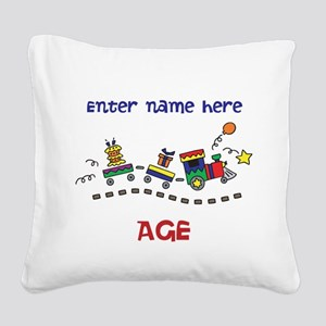 Personalized Birthday Train Square Canvas Pillow