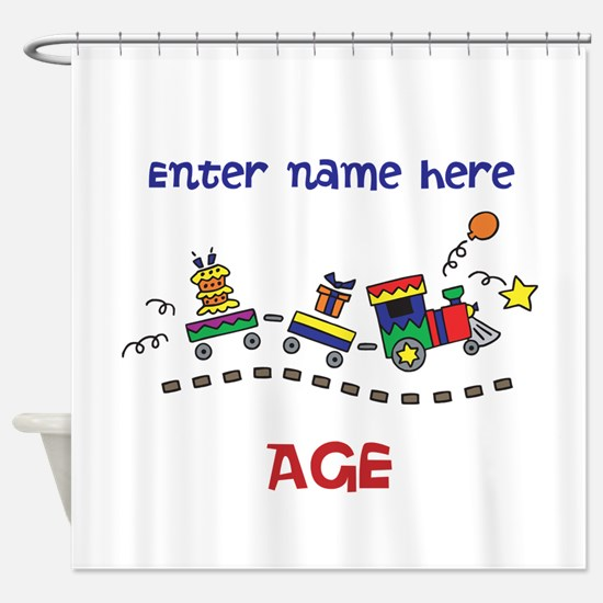 Personalized Birthday Train Shower Curtain