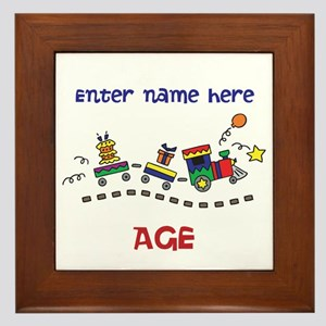 Personalized Birthday Train Framed Tile