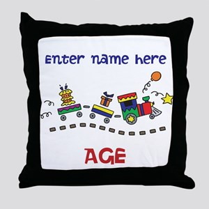 Personalized Birthday Train Throw Pillow