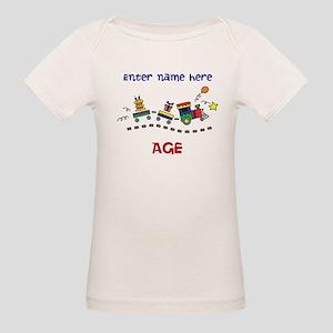 Personalized Birthday Train Organic Baby T Shirt