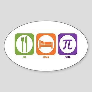 Eat Sleep Math Oval Sticker