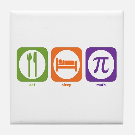 Eat Sleep Math Tile Coaster