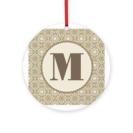 Monogram Letter M Gift Ornament (Round)