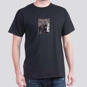 French Bulldog & Child Black T-Shirt