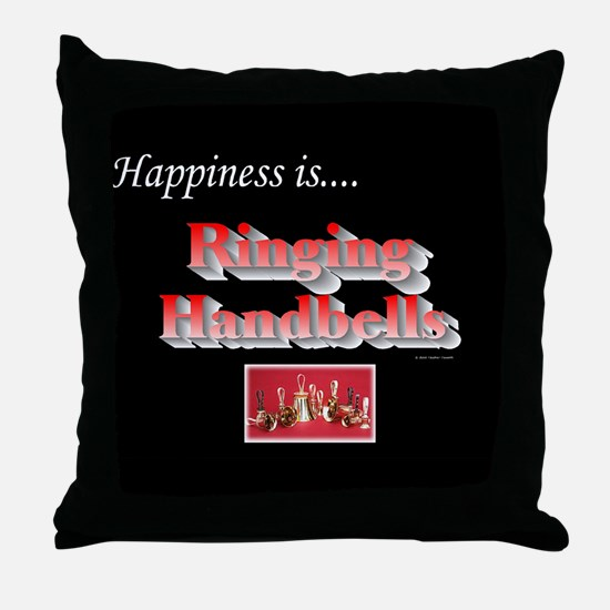 Happiness Is... Black Throw Pillow