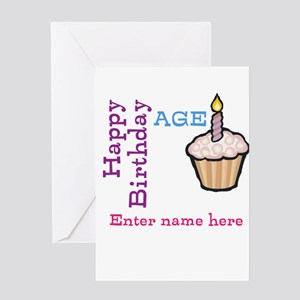 Personalized Birthday Cupcake Greeting Card