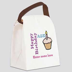 Personalized Birthday Cupcake Canvas Lunch Bag