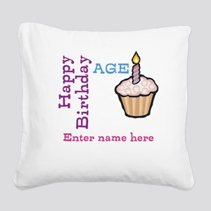 Personalized Birthday Cupcake Square Canvas Pillow