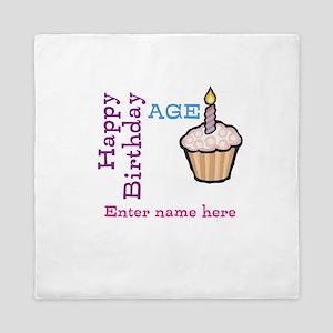 Personalized Birthday Cupcake Queen Duvet