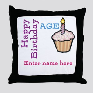 Personalized Birthday Cupcake Throw Pillow