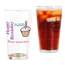Personalized Birthday Cupcake Drinking Glass