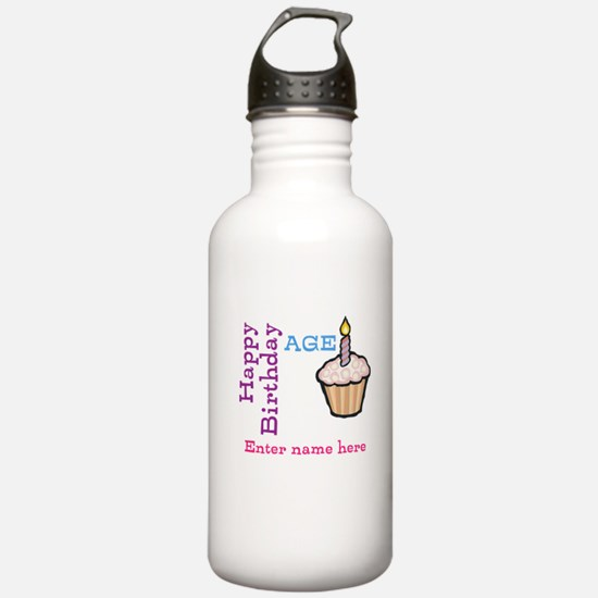 Personalized Birthday Cupcake Water Bottle