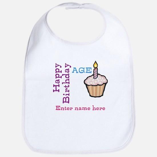 Personalized Birthday Cupcake Bib
