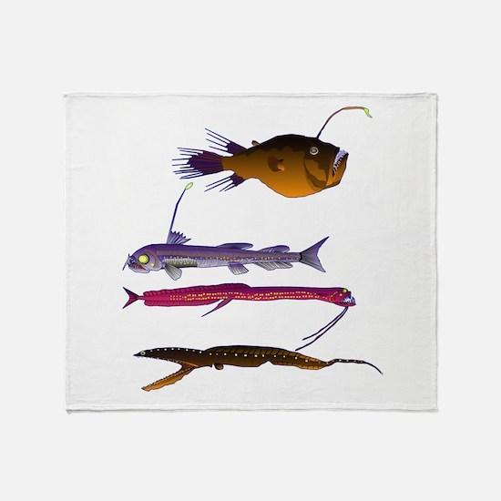 Deep Sea Fish Teeth Throw Blanket