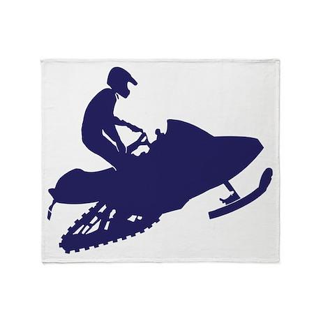 Snowmobiler/navy blue Throw Blanket