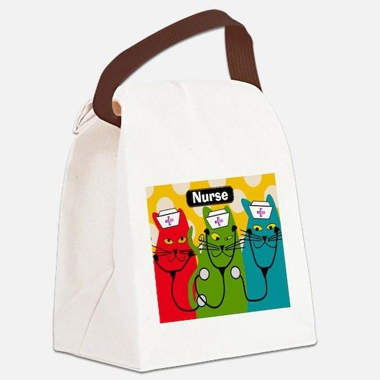 Black cats NURSES 3.PNG Canvas Lunch Bag