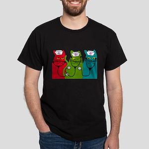 black cats NURSE BEST Dark T-Shirt