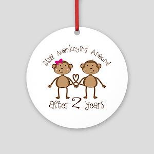 2nd Anniversary Love Monkeys Ornament (Round)