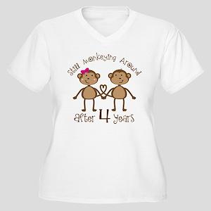 4th Anniversary Love Monkeys Women's Plus Size V-N