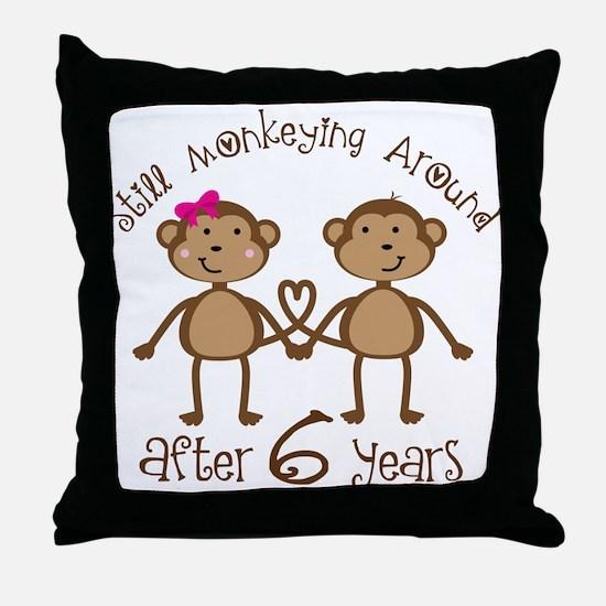 6th Anniversary Love Monkeys Throw Pillow
