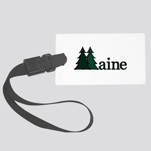 Maine Pine Trees Large Luggage Tag