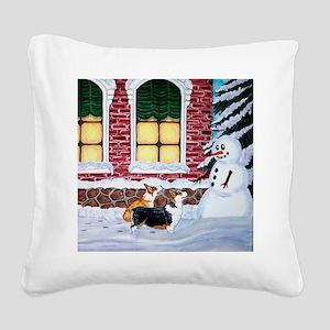 Corgis With Snowman Square Canvas Pillow